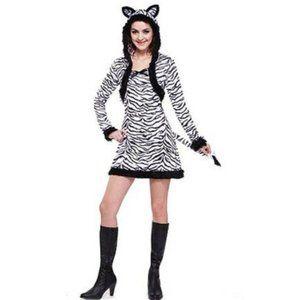 LADY ZEBRA Dress Halloween Costume Sz S 4/6 NWT